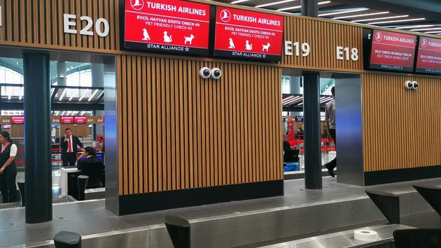 Comptoir d'enregistrement pour chiens Turkish Airlines