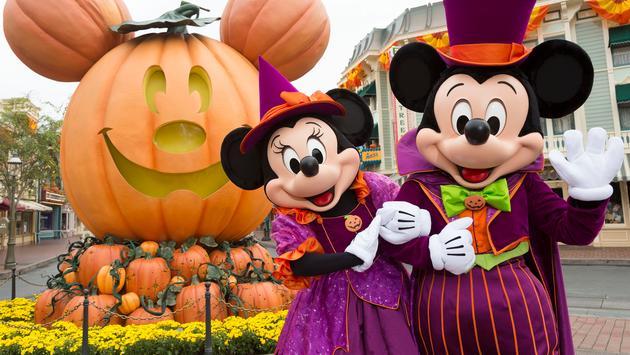 Mickey and Minnie celebrate Halloween.