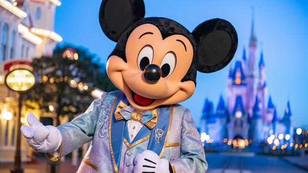 Mickey Mouse dressed in 50th anniversary attire