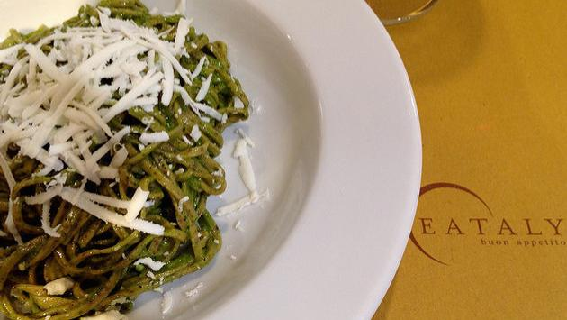 Pesto pasta with ricotta salata at Eataly