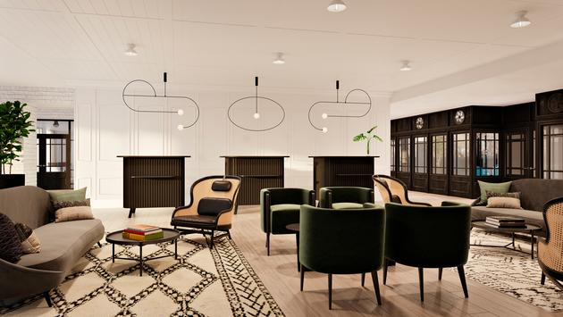 Rendering of lobby at Kimpton Hotel Fontenot in New Orleans