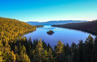 Autumn sunrise over Emerald Bay, Lake Tahoe, California