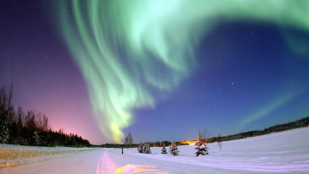 North Pole, northern lights
