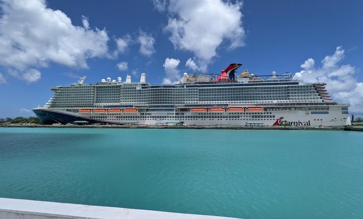 Carnival Mardi Gras cruise ship at port
