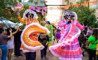 A colorful Dia de Muertos parade in San Antonio