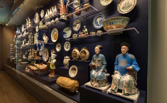 Asian Export Art display inside Peabody Essex Museum