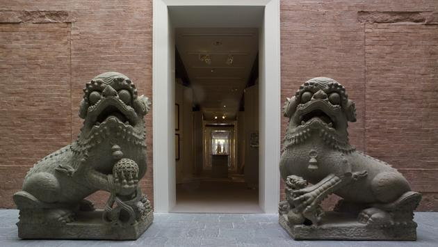 Chinese artist, Imperial lion guardians at Peabody Essex Museum