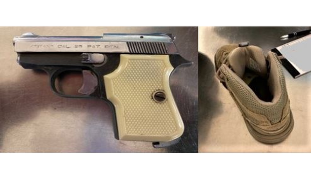 This handgun was discovered artfully concealed in a man's shoe at Philadelphia International Airport