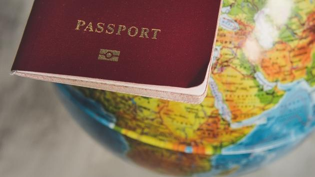 Passport with world map