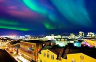 Northern Lights from the city center in Reykjavik, Iceland