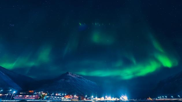 Northern Lights over Longyearbyen, Svalbard, Norway