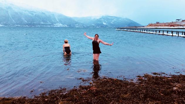 Arctic swimming, Lyngen, Norway