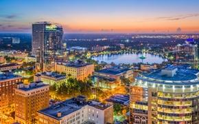 Orlando, Florida skyline looking toward Lake Eola
