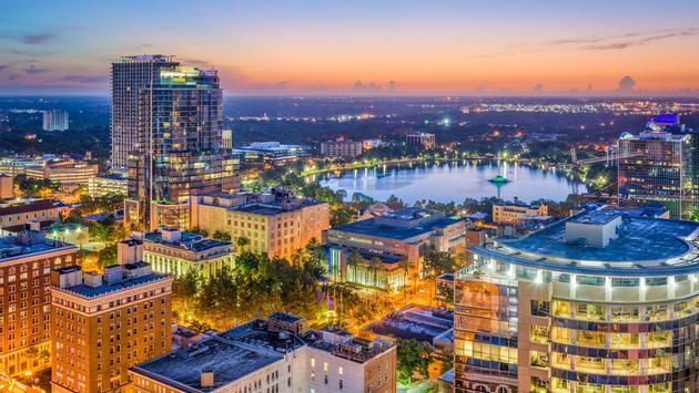 Orlando, Florida skyline looking toward Lake Eola