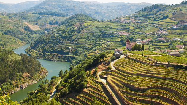The Douro River bisects Portugal's wine country.