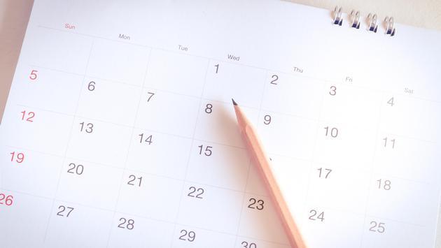 A calendar in a planner
