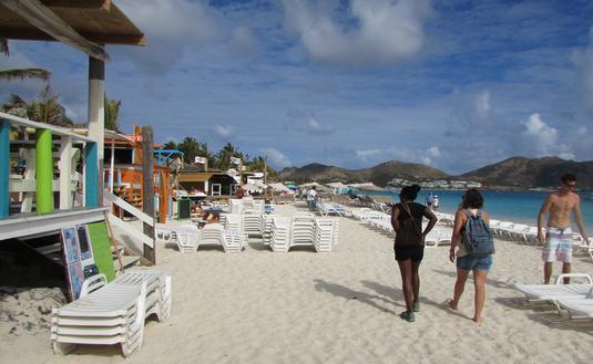 Travelers on St. Martin's Orient Beach
