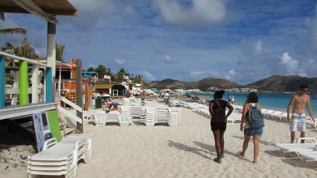 Travelers on St. Martin's Orient Beach