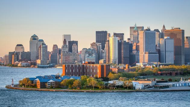 View of Governors Island and Manhattan from New York Harbor
