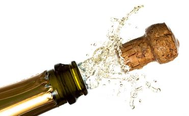 Champagne flying cork