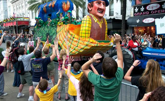 Mardi Gras parade in downtown New Orleans
