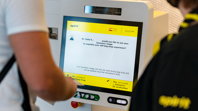 Spirit Airlines' automated self-bag drop unit equipped with biometric photo-matching