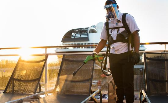 MSC Grandiosa, Electrostatic Spraying Methods are used to clean the ship