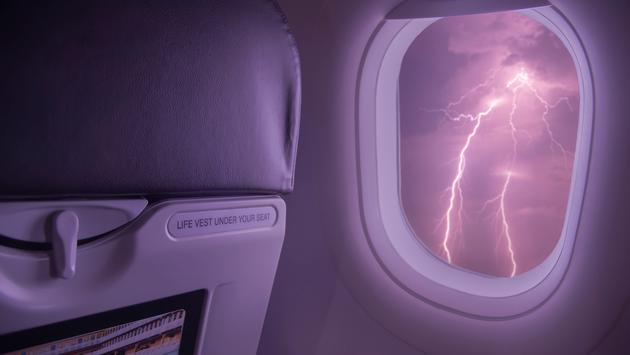 plane, storm, rain