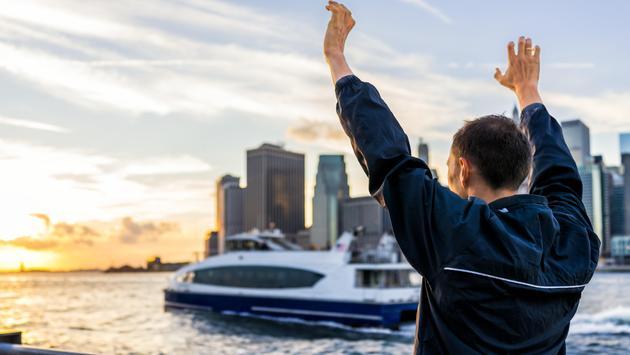 Man enjoying a ferry ride in New York City