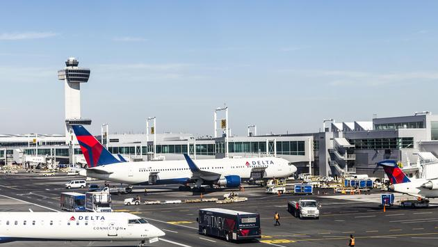 A Delta Air Lines plane at the gate at New York City's John F Kennedy International Airport