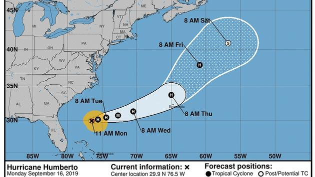 Forecast: Humberto strengthening but moving away