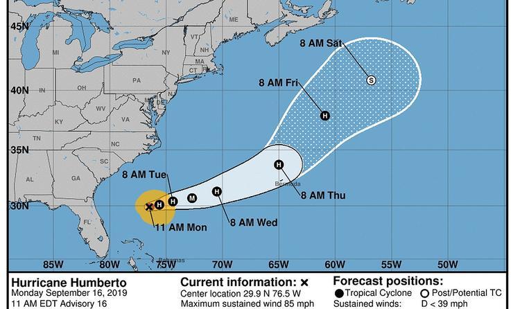 Five-day forecast for Hurricane Humberto.
