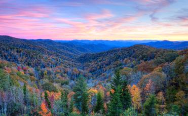 Blue Ridge Parkway through Smoky Mountains National Park.