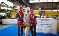 Josh Weinstein, Gilberto Tobaldi, Simon Palethorpeat the Fincantieri shipyard in Naples, Italy.