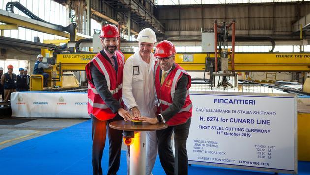 Josh Weinstein, Gilberto Tobaldi, Simon Palethorpeat the Fincantieri shipyard in Naples, Italy.