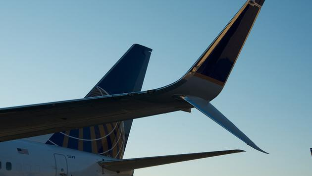 United Airlines plane wing.