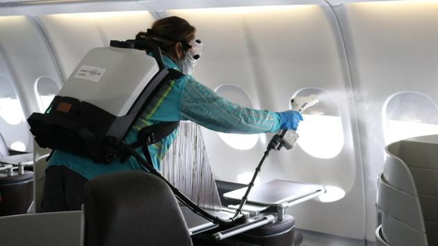 Hawaiian Airlines plane cleaning.