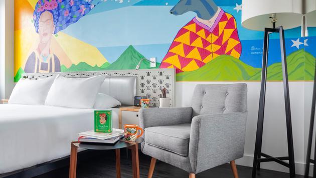Frida Kahlo additions in guestroom at NU Hotel Brooklyn