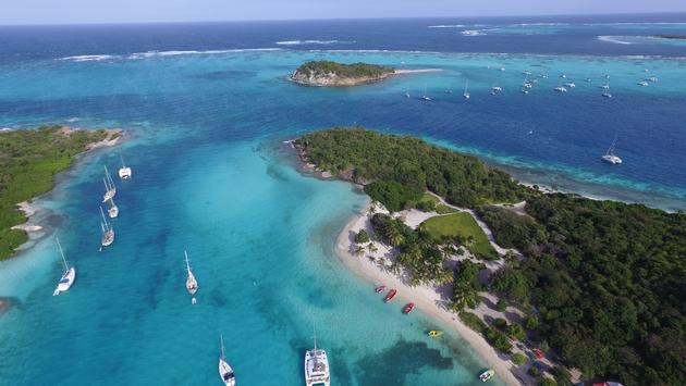 Sky view of Tobago Cays in St Vincent and the Grenadines