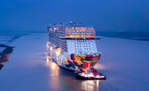 Norwegian Encore begins her conveyance.