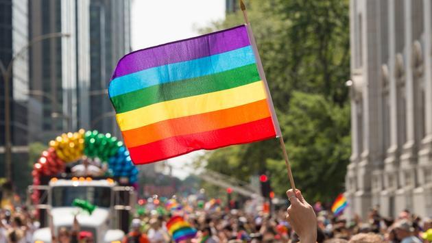 rainbow flag at Montreal gay pride parade