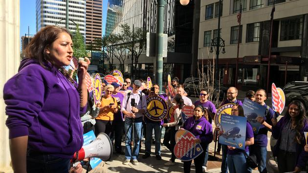 airport workers, protesters, southwest