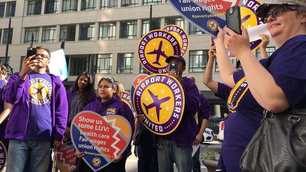 SEIU, airport workers, southwest, protest
