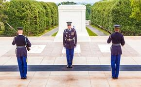 Changing the guard at the Tomb of the Unknown Soldier in Arlington National Cemetery