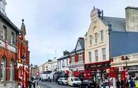 The high street in Dalkey, Ireland, store fronts and shops