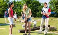 A group playing mini golf