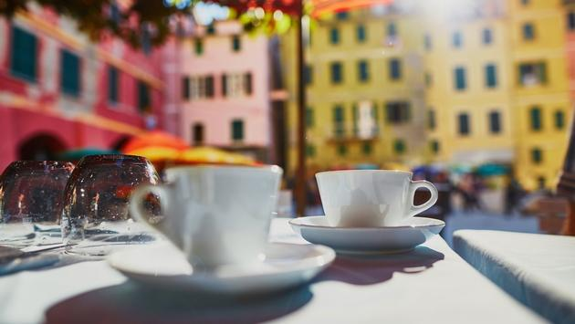 Coffee cups in cafe in Vernazza