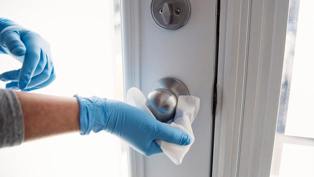 Disinfect high-touch surfaces like doorknobs and handles.