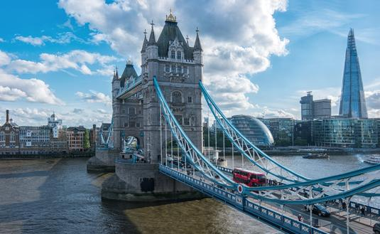 London's Financial District, Tower Bridge and Thames River.
