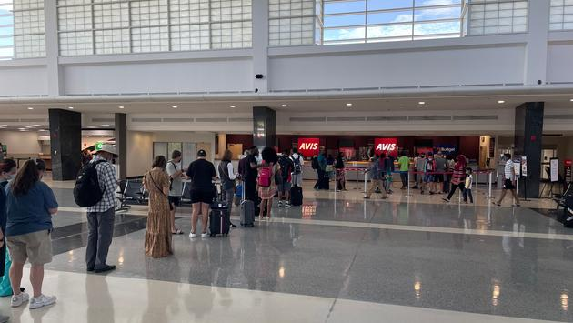 A long line of customers at the BWI Marshall Airport Rental Car Facility